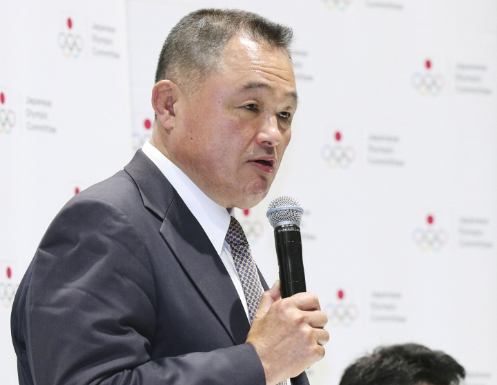 Former gold medalist Yasuhiro Yamashita speaks during a press conference in Tokyo, Thursday, June 27, 2019. Yamashita has been elected to lead the Japanese Olympic Committee, which is mired in a scandal that forced the former president to step aside in an alleged vote-buying scheme to land next year's Tokyo Games. (Kenzaburo Fukuhara/Kyodo News via AP)