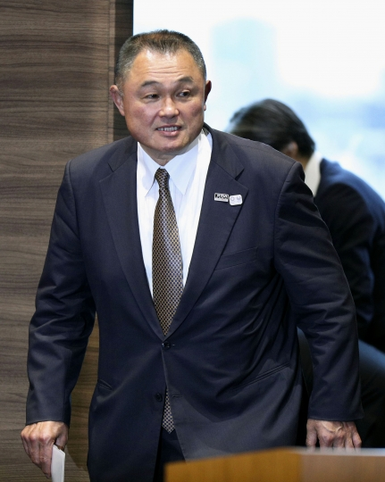 Former gold medalist Yasuhiro Yamashita arrives for a press conference in Tokyo, Thursday, June 27, 2019. Yamashita has been elected to lead the Japanese Olympic Committee, which is mired in a scandal that forced the former president to step aside in an alleged vote-buying scheme to land next year's Tokyo Games. (Kenzaburo Fukuhara/Kyodo News via AP)