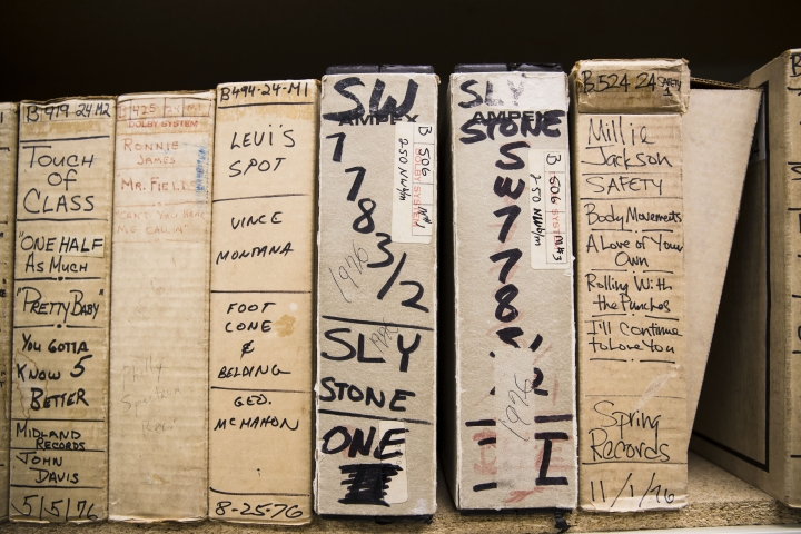 In this May 8, 2019 photo shown are reels from Sly Stone's recording sessions at the Sigma Sound Studio, at Drexel University in Philadelphia. The music department acquired this and thousands of other tapes and they are hoping to discover more gems in its archives. (AP Photo/Matt Rourke)