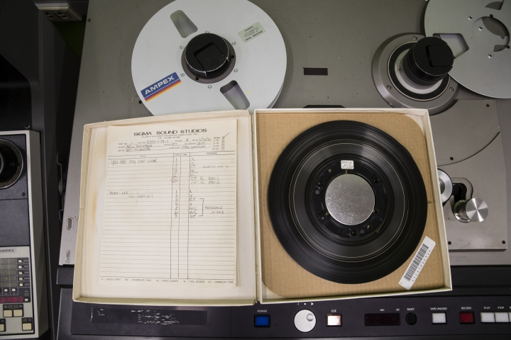 In this May 8, 2019 photo shown is a reel from from a Nat Turner Rebellion recording session at the Sigma Sound Studio, at Drexel University in Philadelphia. The music department acquired this and thousands of other tapes and they are hoping to discover more gems in its archives. (AP Photo/Matt Rourke)