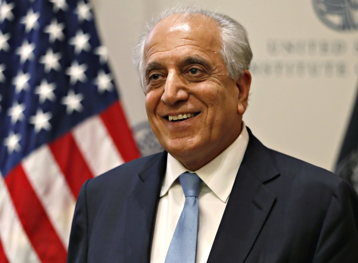 FILE - In this Feb. 8, 2019, file photo, Special Representative for Afghanistan Reconciliation Zalmay Khalilzad at the U.S. Institute of Peace, in Washington. A fresh round of talks between the U.S. and the Taliban is to begin in Qatar Saturday, June 29, just days after U.S. Secretary of State Mike Pompeo said Washington is hoping for an Afghan peace agreement before Sept. 1. (AP Photo/Jacquelyn Martin, File)