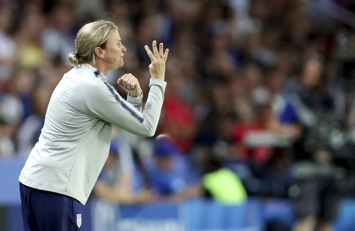 United States' coach Jill Ellis during the Women's World Cup quarterfinal soccer match between France and the United States at the Parc des Princes, in Paris, Friday, June 28, 2019. (AP Photo/Francisco Seco)