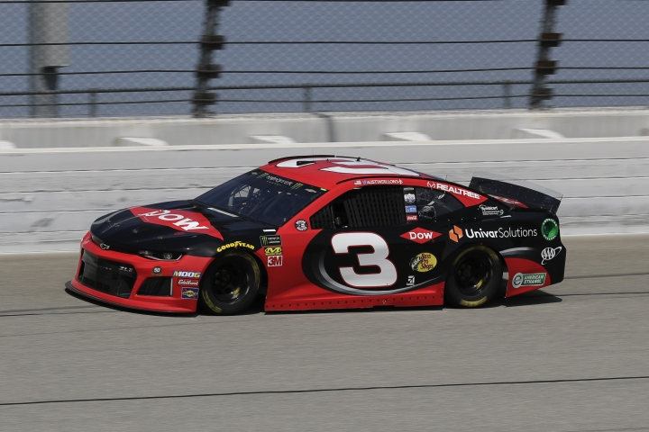 Austin Dillon drives on the track during a practice for a NASCAR Sprint Cup Series auto race at Chicagoland Speedway in Joliet, Ill., Saturday, June 29, 2018. (AP Photo/Nam Y. Huh)