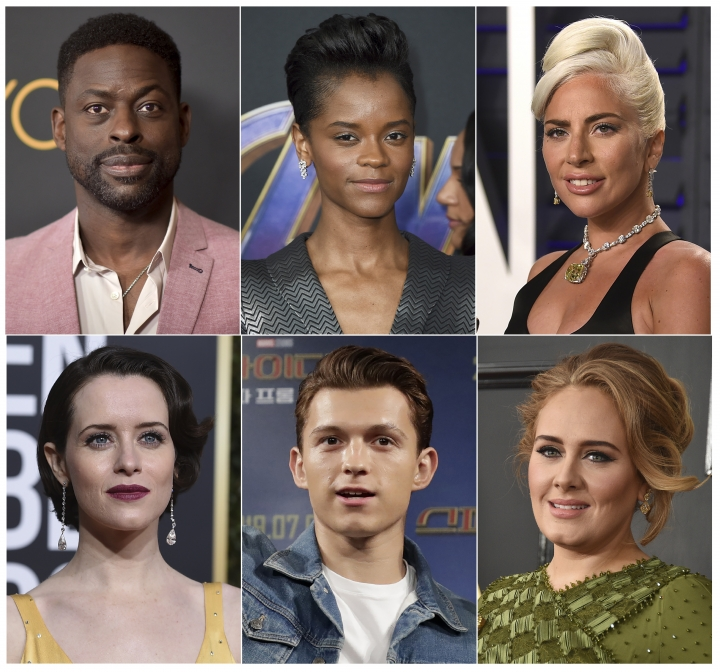 This combination photo shows, top row from left, Sterling K. Brown, Letitia Wright, Lady Gaga, and bottom row from left, Claire Foy, Tom Holland and singer Adele, who are among 842 people invited to join the Academy of Motion Pictures Arts and Sciences on Monday, July 1, 2019. (AP Photo)