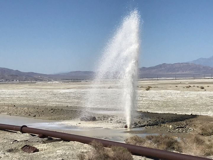 Pipes are damaged from an earthquake, Thursday, July 4, 2019, in Trona, Calif. A strong earthquake rattled a large swath of Southern California and parts of Nevada on Thursday, rattling nerves on the July 4th holiday and causing some damage in a town near the epicenter, followed by a swarm of aftershocks. (AP Photo/Matt Hartman)