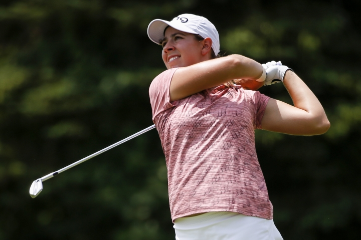 Kristen Gillman hits the ball during the second round of the Thornberry Creek LPGA Classic golf tournament Friday, July 5, 2019, in Oneida, Wis. (Chris Kohley/The Post-Crescent via AP)