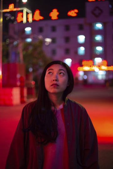 "This image released by A24 shows Awkwafina, in a scene from ""The Farewell."" (Casi Moss/A24 via AP)"