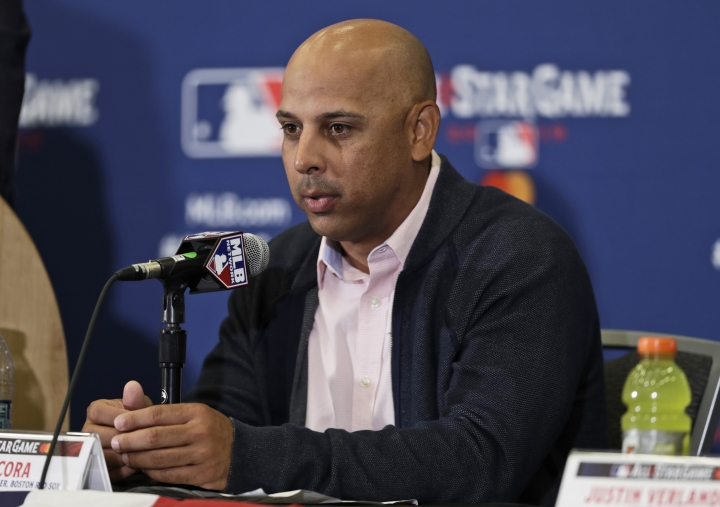 American League manager Alex Cora speaks at a news conference, Monday, July 8, 2019, in Cleveland. The 90th All-Star Game will be played on Tuesday in Cleveland. (AP Photo/Tony Dejak)