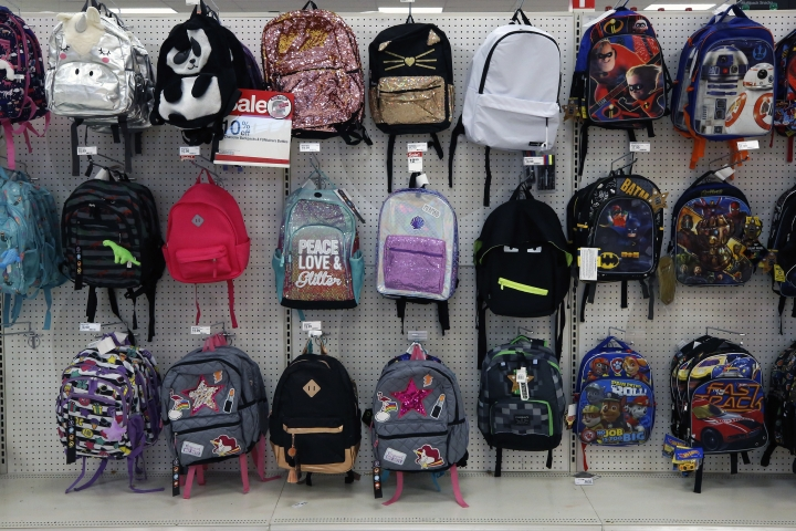 FILE - This July 18, 2018, photo shows a display of back to school backpacks in a Target store in Pittsburgh. For backpacks, Mary Hunt, founder of the website Cheapskate Monthly, recommends Jansport or Eastpak for durability. If you are shopping resale, those are labels to look for because they'll last longer. (AP Photo/Gene J. Puskar, File)