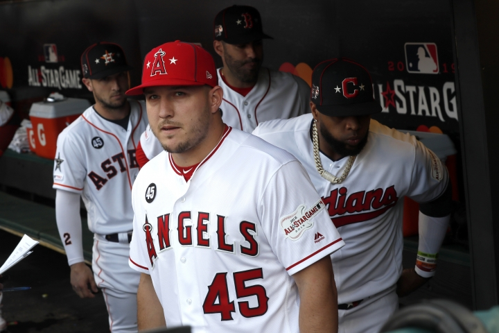 American League Mike Trout, of the Los Angeles Angels, waits to be introduced while wearing the number 45 of Los Angeles Angels pitcher Tyler Skaggs, who passed away last Monday, before the start of the MLB baseball All-Star Game, Tuesday, July 9, 2019, in Cleveland. (AP Photo/John Minchillo)