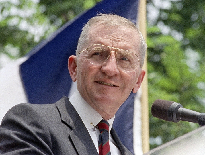 FILE - Presidential hopeful H. Ross Perot speaks at a rally in Austin, Texas, in this 1992 file photo. Perot, the Texas billionaire who twice ran for president, has died. He was 89. (AP Photo, File)