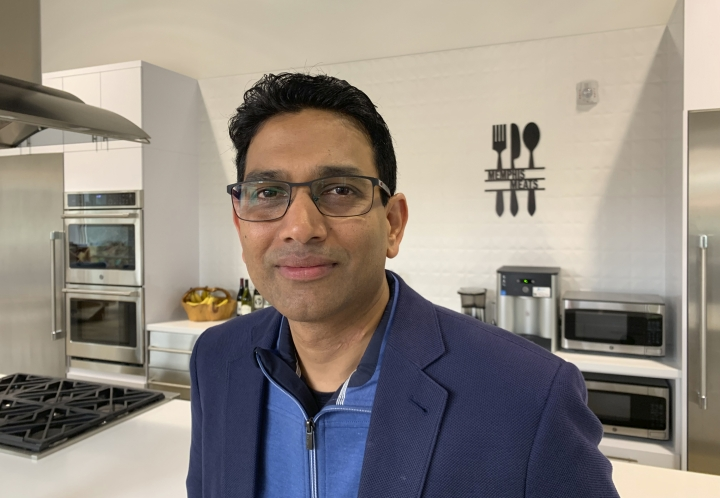 In this photo taken April 11, 2019, is Memphis Meats CEO Uma Valeti poses for a photo at his company in Emeryville, Calif. The company is focused on reducing the cost of cultured meat and producing larger quantities. A plate of chicken that used to cost tens of thousands of dollars to produce can now be made for less than $100, Valeti said. (AP Photo/Terry Chea)