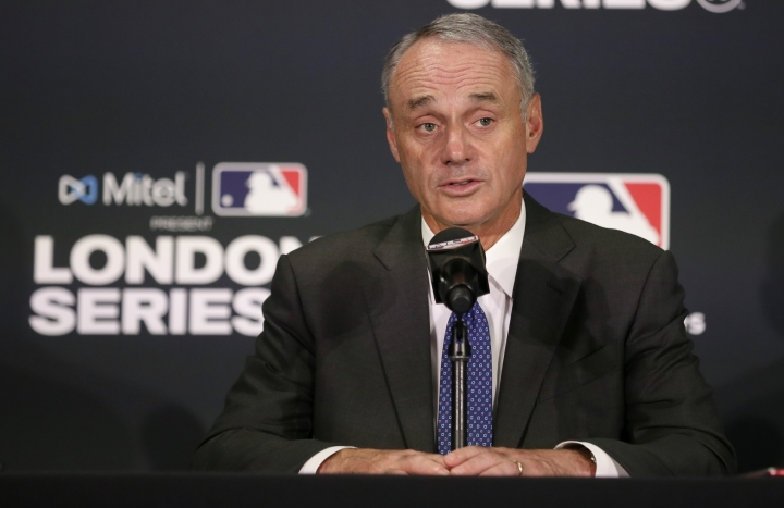 Major League Baseball commissioner Rob Manfred speaks during a news conference before a baseball game between the Boston Red Sox and the New York Yankees, Saturday, June 29, 2019, in London. Major League Baseball makes its European debut game today at London Stadium. (AP Photo/Tim Ireland)