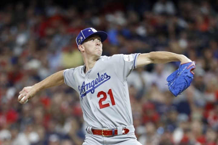 National League pitcher Walker Buehler, of the Los Angeles Dodgers, throws during the fifth inning of the MLB baseball All-Star Game against the American League, Tuesday, July 9, 2019, in Cleveland. (AP Photo/John Minchillo)