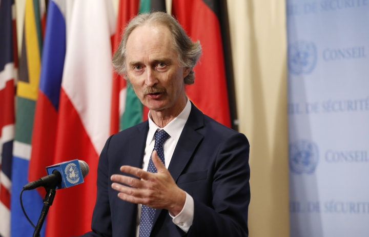 "FILE - In this April 30, 2019 file photo, United Nations Special Envoy for Syria Geir Pedersen gestures as he speaks to the media following a U.N. Security Council meeting on Syria at U.N. headquarter. Pedersen is reporting ""solid progress"" following talks with officials in the Syrian capital and says they are ""very close to an agreement"" on establishing a constitutional committee. Geir Pedersen spoke to reporters Wednesday, July 10, 2019, following two meetings with Syrian Foreign Minister Walid Moallem in Damascus. (AP Photo/Kathy Willens, File)"