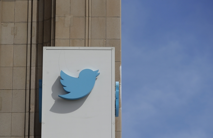 This July 9, 2019, photo shows a sign outside of the Twitter office building in San Francisco. Twitter said Thursday, that it is investigating a problem with its service. Users across the U.S. and elsewhere are not able to access Twitter. (AP Photo/Jeff Chiu)