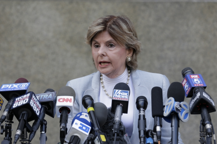 Attorney Gloria Allred, who represents one of the accusers in the criminal case, speaks to reporters in front of State Supreme Court following a hearing related to former movie mogul Harvey Weinstein's sexual assault case, Thursday, July 11, 2019, in New York. (AP Photo/Seth Wenig)