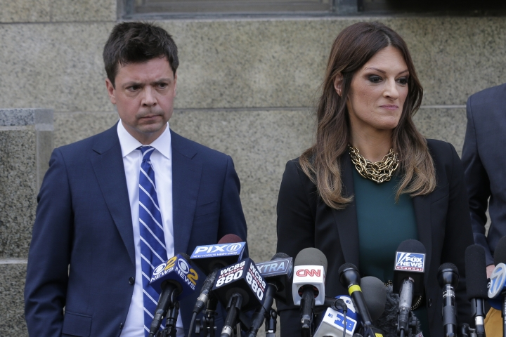 Lawyers, from left, Damon Cheronis and Donna Rotunno, representing former movie mogul Harvey Weinstein, speak to reporters in front of State Supreme Court following a hearing related to Weinstein's sexual assault case, Thursday, July 11, 2019, in New York. (AP Photo/Seth Wenig)