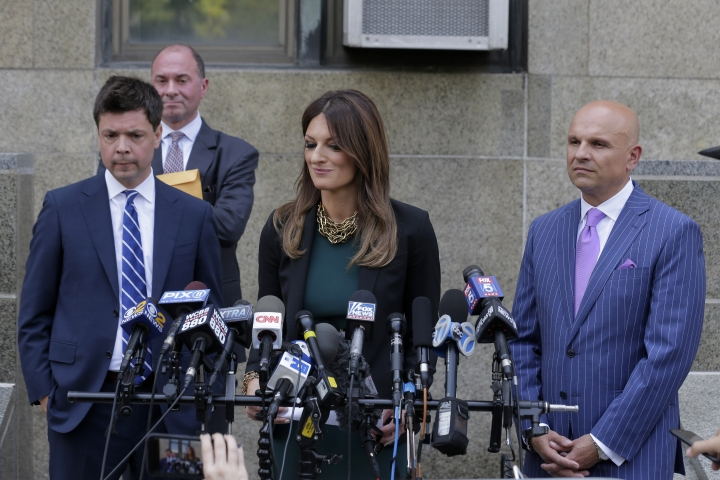 Lawyers, from left, Damon Cheronis, Donna Rotunno and Arthur Aidala, representing former movie mogul Harvey Weinstein, speak to reporters in front of State Supreme Court following a hearing related to Weinstein's sexual assault case, Thursday, July 11, 2019, in New York. (AP Photo/Seth Wenig)