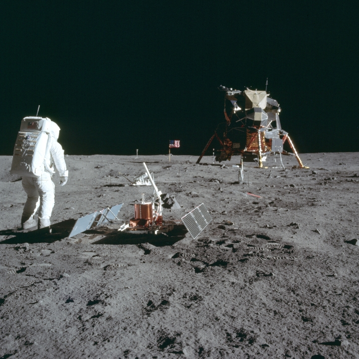 ADVANCE FOR USE SATURDAY, JULY 13, 2019 AND THEREAFTER-In this July 20, 1969 photo made available by NASA, astronaut Buzz Aldrin Jr. stands next to the Passive Seismic Experiment device on the surface of the the moon during the Apollo 11 mission. (Neil Armstrong/NASA via AP)