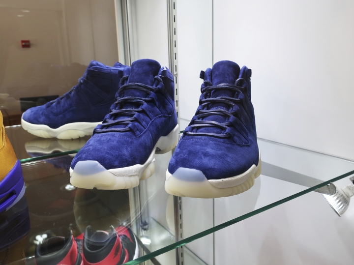 "A pair of 2017 ""Air Jordan 11 Jeter Derek Jeter"" shoes are on display at Sotheby's auction house in New York on July 12, 2019. Sotheby's expects the shoes to auction online for $40,000 to $60,000. (AP Photo/Ted Shaffrey)"