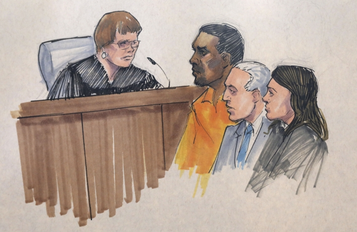 In this courtroom sketch, R&B singer R. Kelly, center, appears before U.S. Magistrate Shelia M. Finnegan, left, in U.S. District Court for the Northern District of Illinois. Friday, July 12, 2019, in Chicago. Also standing with Kelly is his attorney Steve Greenberg and an unidentified prosecutor. (AP Photo/Tom Gianni via AP)