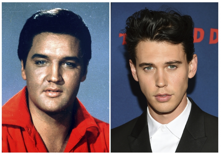 "This combination photo shows singer-actor Elvis Presley in a 1964 photo, left, and actor Austin Butler at the premiere of ""The Dead Don't Die"" in New York on June 10, 2019. Butler has been cast to portray Presley in the upcoming biopic by director Baz Luhrmann. Production is to begin early next year. Tom Hanks co-stars as Presley's manager Colonel Tom Parker. (AP Photo)"