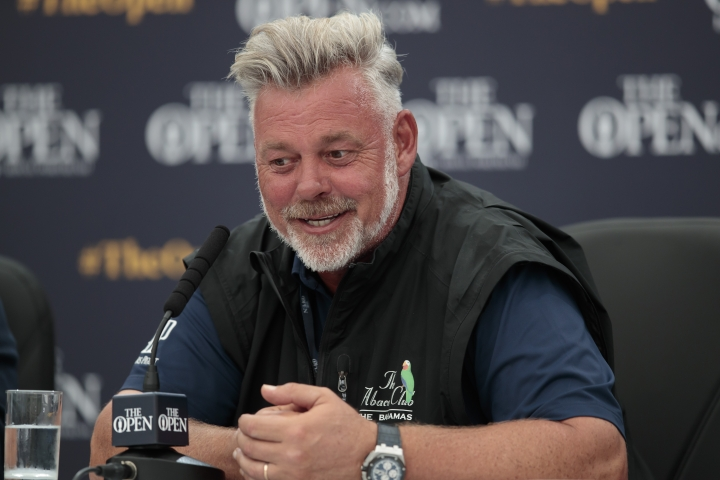 Northern Irish golfer Darren Clarke speaks during a press conference at Royal Portrush Golf Club, Northern Ireland, Monday, July 15, 2019. The148th Open Golf Championship begins on July 18. (AP Photo/Jon Super)