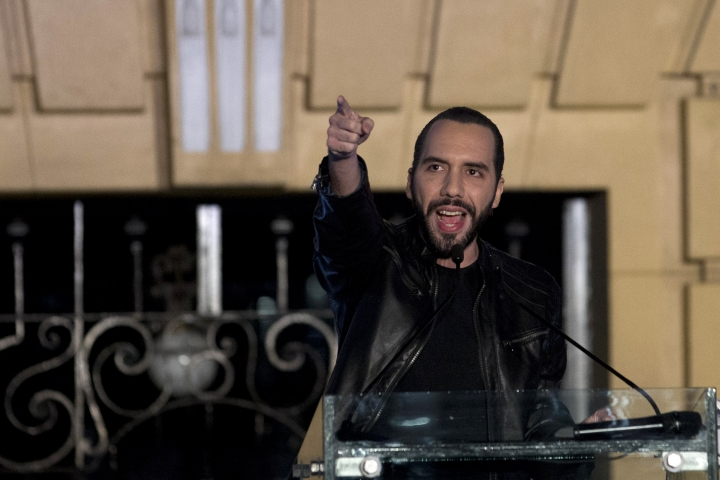 FILE- In this Feb. 3, 2019 file photo, newly-elected president of El Salvador Nayib Bukele addresses his supporters, in San Salvador, El Salvador. Bukele on Monday, July 15, 2019, called on Washington not to lump his country in with Honduras and Guatemala, the other two nations that make up Central America's so-called Northern Triangle. He said his country is trying to reduce irregular migration and fight crime and drug trafficking, and deserves to be treated differently than nearby countries. (AP Photo/Moises Castillo, File)