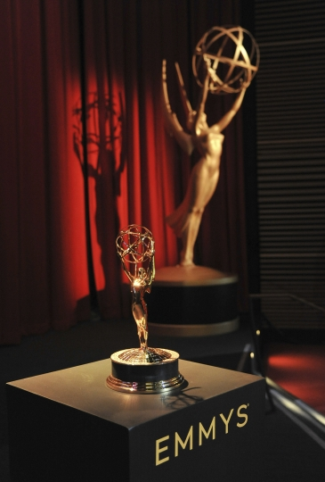 Emmy statuette and statue appear on stage prior to the start of the 71st Primetime Emmy Nominations Announcements at the Television Academy's Saban Media Center on Tuesday, July 16, 2019, in Los Angeles. (Photo by Richard Shotwell/Invision/AP)