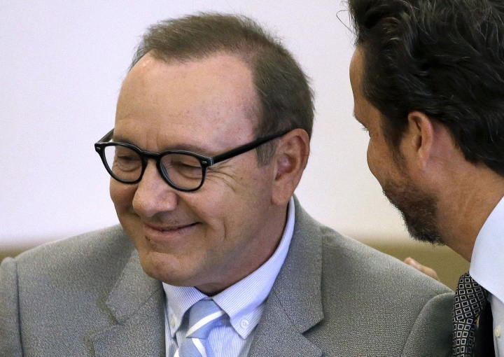FILE - In this June 3, 2019 file photo, actor Kevin Spacey listens to attorney Alan Jackson during a pretrial hearing at district court in Nantucket, Mass. On Wednesday, July 17, prosecutors dropped the sexual assault case against Oscar-winning actor, who had been accused of groping 18-year-old man in 2016 in the crowded bar at the Club Car in Nantucket. (AP Photo/Steven Senne, File)