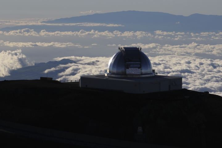 A telescope is shown at the summit of Hawaii's Mauna Kea, Sunday, July 14, 2019. Hundreds of demonstrators are gathered at the base of Hawaii's tallest mountain to protest the construction of a giant telescope on land that some Native Hawaiians consider sacred. State and local officials will try to close the road to the summit of Mauna Kea Monday morning to allow trucks carrying construction equipment to make their way to the top. Officials say anyone breaking the law will be prosecuted. Protestors have blocked the roadway during previous attempts to begin construction and have been arrested. (AP Photo/Caleb Jones)