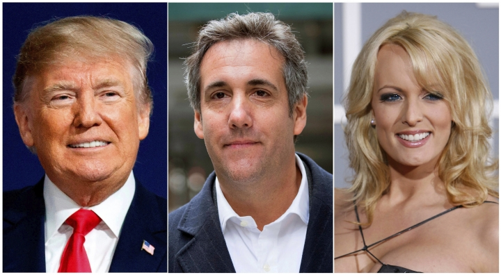 FILE - This combination of file photo shows, from left, President Donald Trump, attorney Michael Cohen and adult film actress Stormy Daniels. Search warrants unsealed Thursday, July 18, 2019, shed new light on the president's role as his campaign scrambled to respond to media inquiries about hush money paid to two women who said they had affairs with him. The investigation involved payments Cohen helped orchestrate to Daniels and Playboy centerfold Karen McDougal. (AP Photo/File)