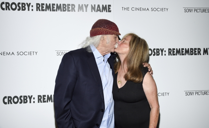 """Musician David Crosby and wife Jan Dance attend a special screening of """"David Crosby: Remember My Name,"""" hosted by Sony Pictures Classics and The Cinema Society, at The Roxy Cinema, Tuesday, July 16, 2019, in New York. (Photo by Evan Agostini/Invision/AP)"""