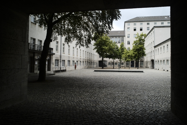 RETRANSMISSION TO CLARIFY SECOND SENTENCE - In this Friday, July 12, 2019 photo general view inside the courtyard of the Bendlerblock building of the German defensive ministry where the German Resistance Memorial Center is located, in Berlin. Several leaders of the failed attempt to assassinate Adolf Hitler on July 20, 1944 were shot dead in the courtyard. (AP Photo/Markus Schreiber)