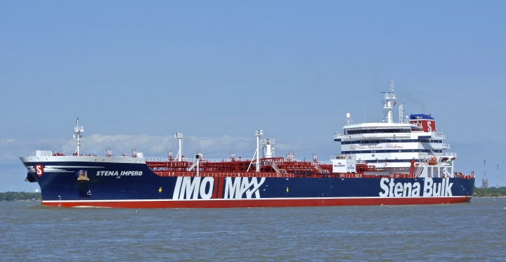 In this May 5, 2019 photo issued by Karatzas Images, showing the British oil tanker Stena Impero at unknown location, which is believed to have been captured by Iran. Iran's Revolutionary Guard announced on their website Friday July 19, 2019, it has seized a British oil tanker in the Strait of Hormuz, the latest provocation in a strategic waterway that has become a flashpoint in the tensions between Tehran and the West. (Basil M. Karatzas, Karatzas Images via AP) MANDATORY CREDIT