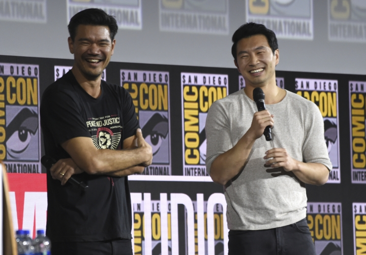"""Destin Daniel Cretton, left, and Simu Liu speaks during the """"Shang-Chi and The Legend of the Ten Rings"""" portion of the Marvel Studios panel on day three of Comic-Con International on Saturday, July 20, 2019, in San Diego. (Photo by Chris Pizzello/Invision/AP)"""