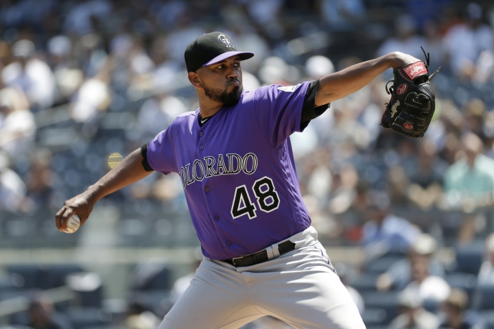 Colorado Rockies starting pitcher German Marquez throws during the first inning of a baseball game against the New York Yankees at Yankee Stadium, Sunday, July 21, 2019, in New York. (AP Photo/Seth Wenig)
