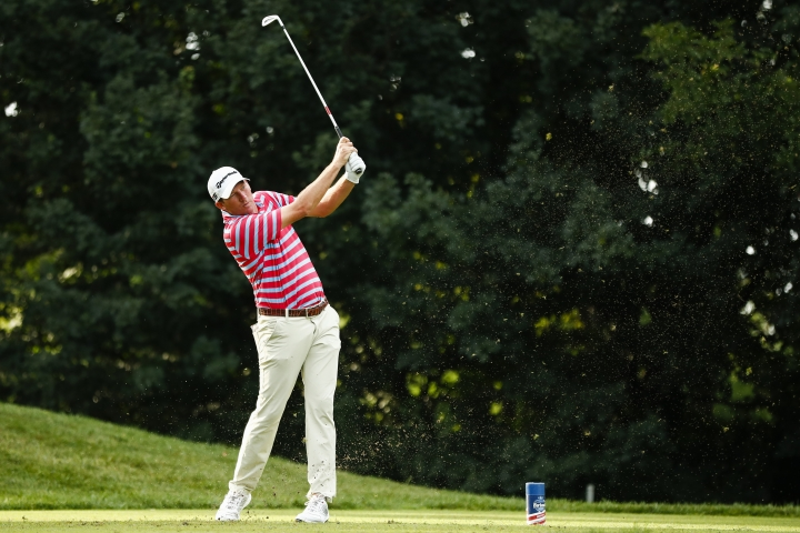 Jim Herman tees off on 16 during the PGA Barbasol Championship golf tournament final round at Keene Trace Golf Club's Champions Course in Nicholasville, Ky., Sunday, July 21, 2019. Herman won the tournament. (Alex Slitz/Lexington Herald-Leader via AP)