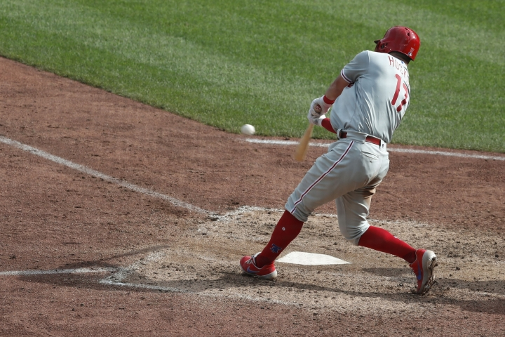 Philadelphia Phillies' Rhys Hoskins hits a solo home run in the eleventh inning of a baseball game, Sunday, July 21, 2019, in Pittsburgh. The Phillies won 2-1. (AP Photo/Keith Srakocic)