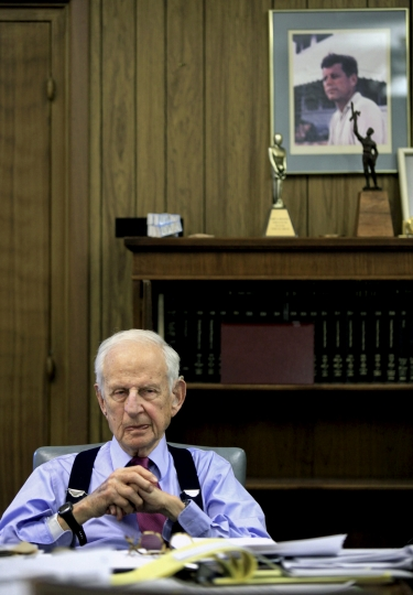 FILE - In this Dec. 16, 2009 file photo, Manhattan District Attorney Robert Morgenthau listens during an interview at his office in New York, as he prepares to step down after 35 years as DA. Morgenthau, the longest-serving former Manhattan district attorney who tried mob kingpins, music stars and white-collar criminals and inspired a character on 'Law & Order' has died. He was 99. His wife, Lucinda Franks, told The New York Times that Morgenthau died Sunday, July 21, 2019, at a Manhattan hospital after a short illness. AP Photo/Bebeto Matthews, File)