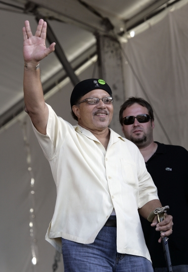 FILE - This May 4, 2008 file photo shows Art Neville during the 2008 New Orleans Jazz & Heritage Festival in New Orleans. Neville, a member of one of New Orleans' storied musical families, the Neville Brothers, and a founding member of the groundbreaking funk band The Meters, has died at age 81. Neville's manager, Kent Sorrell, confirmed that Neville died Monday, July 22, 2019. The cause of death was not immediately available. (AP Photo/Dave Martin, File)