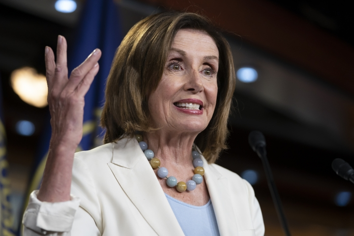 Speaker of the House Nancy Pelosi, D-Calif., holds a news conference on Capitol Hill in Washington, Wednesday, July 17, 2019. (AP Photo/J. Scott Applewhite)