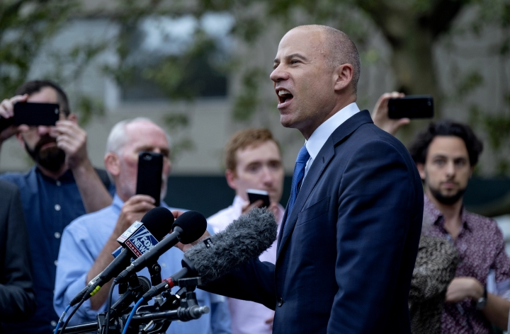 California attorney Michael Avenatti makes a statement to the press after leaving a courthouse in New York Tuesday, July 23, 2019. Avenatti is accused of cheating porn star Stormy Daniels out of $300,000 in a book deal. (AP Photo/Craig Ruttle)