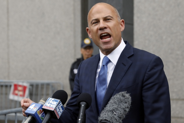 Michael Avenatti makes a statement to the press as he leaves federal court, in New York, Tuesday, July 23, 2019. Avenatti faces charges accusing him of cheating porn star Stormy Daniels out of $300,000 in a book deal. (AP Photo/Richard Drew)