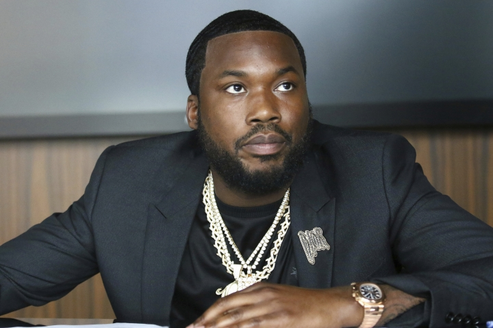 Meek Mill makes an announcement of the launch of Dream Chasers record label in joint venture with Roc Nation, at the Roc Nation headquarters on Tuesday, July 23, 2019, in New York. The Philadelphia rapper-turned-entrepreneur is launching a new record label in a joint venture with Jay-Z's Roc Nation. (Photo by Greg Allen/Invision/AP)