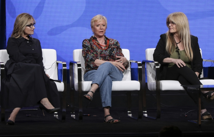 """Members of """"The Brady Bunch,"""" cast, from left, Maureen McCormick, Eve Plumb and Susan Olsen participate in HGTV's """"A Very Brady Renovation"""" panel at the Television Critics Association Summer Press Tour on Thursday, July 25, 2019, in Beverly Hills, Calif. (Photo by Willy Sanjuan/Invision/AP)"""