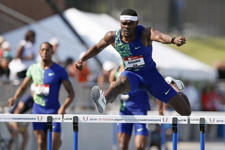 Rai Benjamin clears a hurdle during the men's 400-meter hurdles at the U.S. Championships athletics meet, Saturday, July 27, 2019, in Des Moines, Iowa. (AP Photo/Charlie Neibergall)