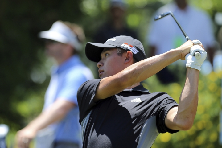 Collin Morikawa tees off during his final round in the Barracuda Championship golf tournament at Montreux Golf & Country Club in Reno, Nev. Sunday July 28, 2019. (AP Photo/ Lance Iversen)
