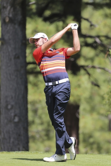 Troy Merritt tees-off during his final round in the Barracuda Championship golf tournament at Montreux Golf & Country Club in Reno, Nev. Sunday July 28, 2019. (AP Photo/ Lance Iversen)